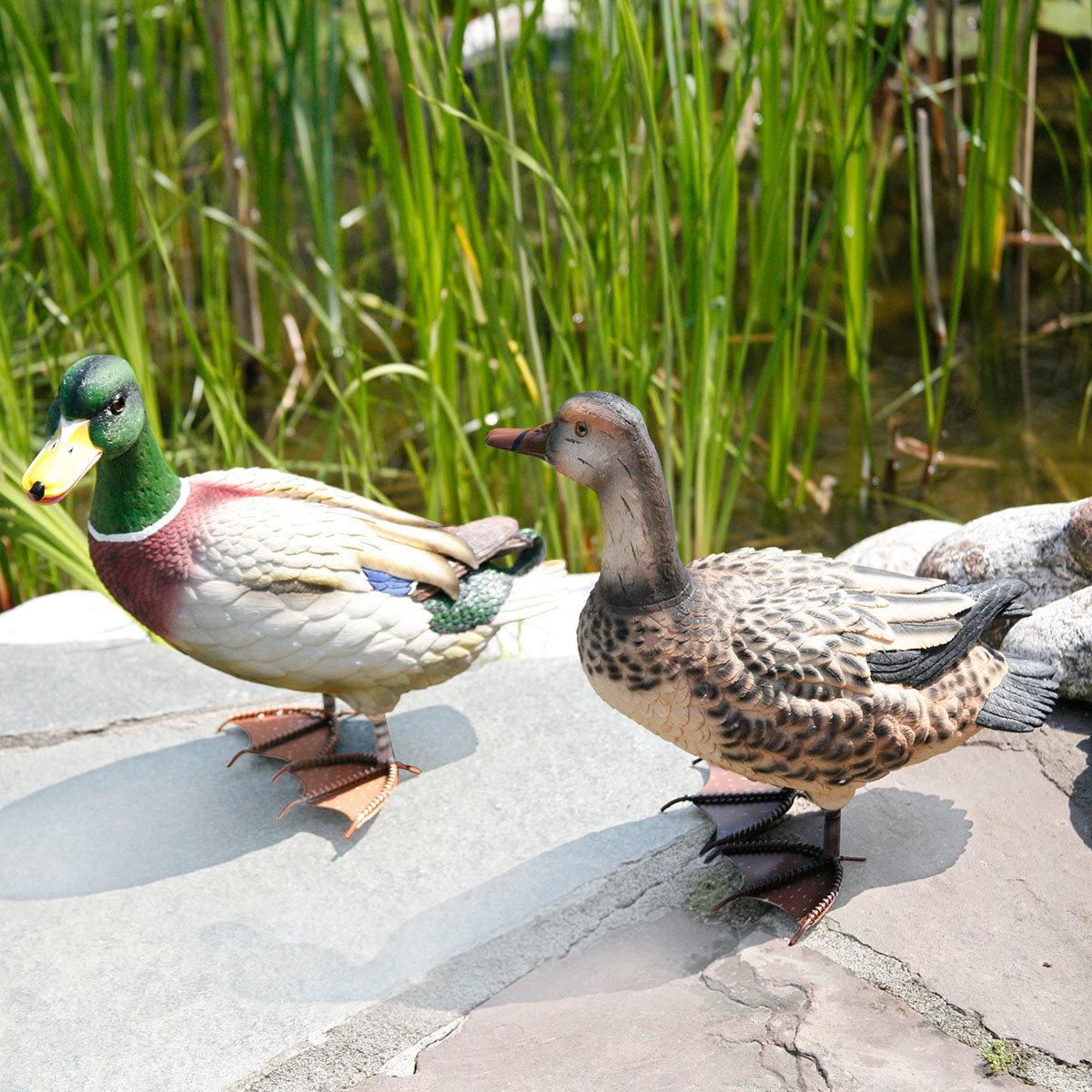 Gartenfiguren Ente & Erpel, 2er-Set