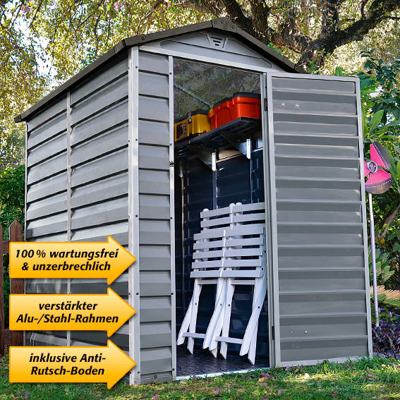 skylight gartenschuppen 4x6 39 grau inkl boden von. Black Bedroom Furniture Sets. Home Design Ideas