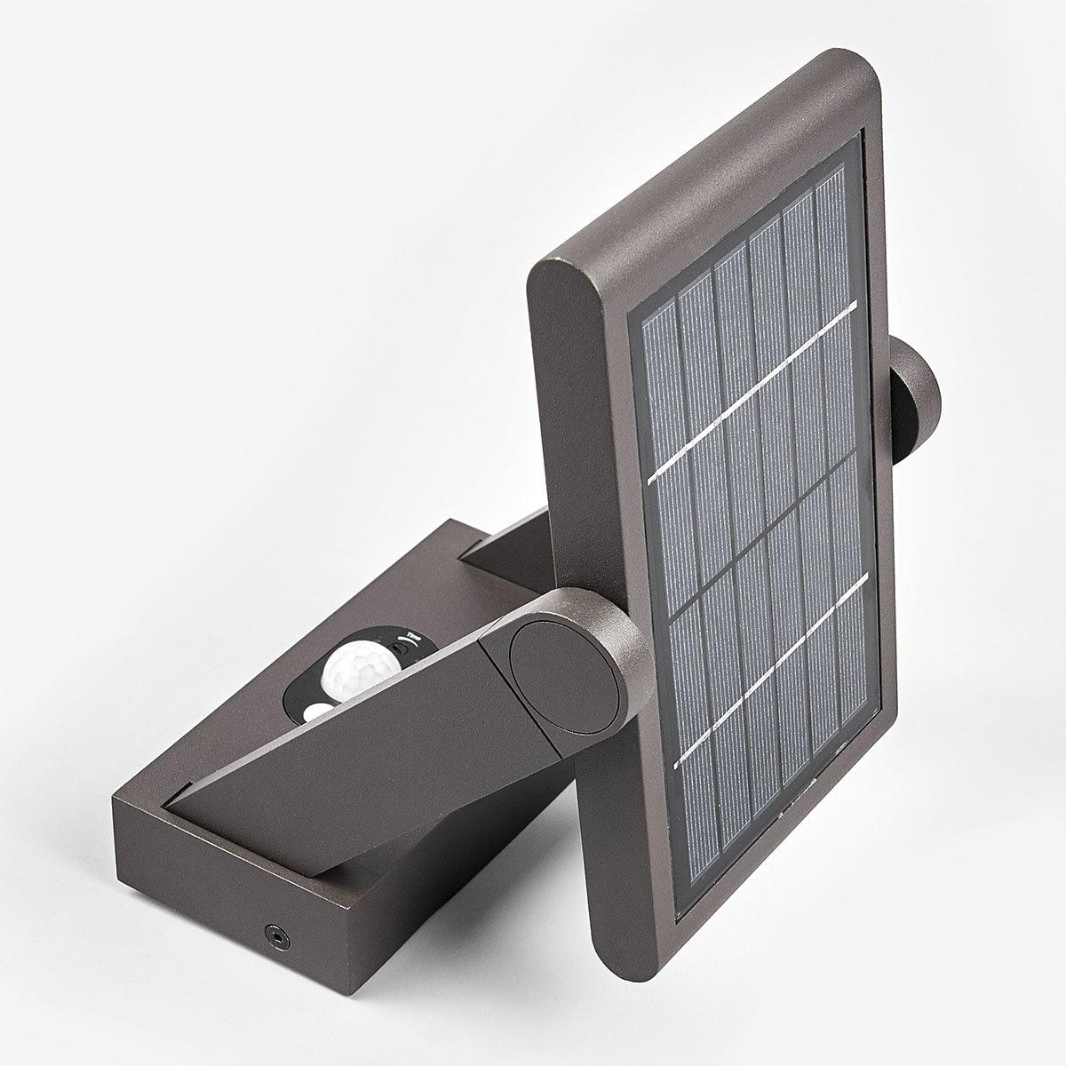 Solar-LED-Außenwandleuchte Valerian mit Bewegungsmelder, 16x23,3x15,2 cm, Aluminium, grau | #10
