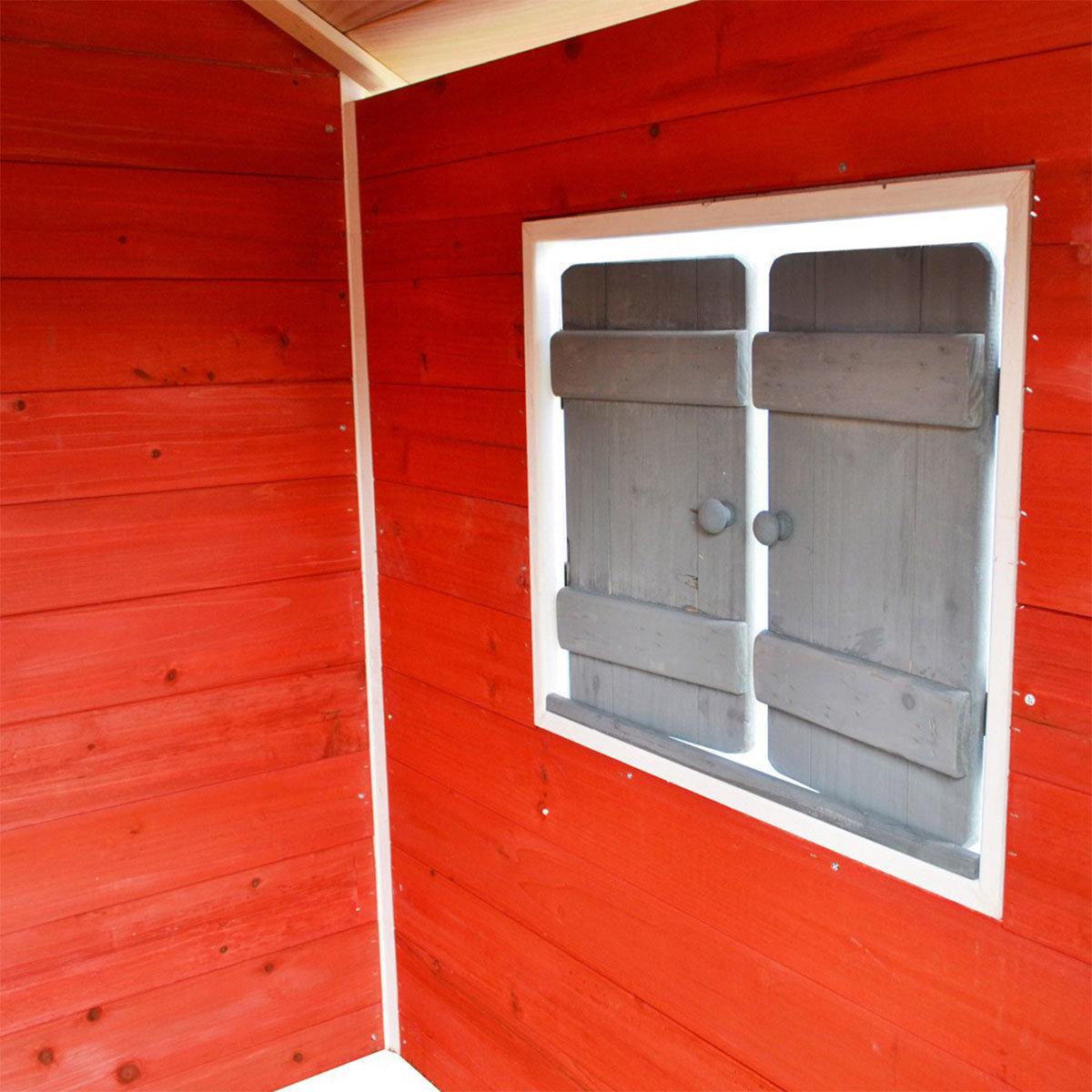 Kinder Spielhaus kleines Schloss, rot und weiß lasiert, ca. 138 x 118 x 132,5 cm | #10