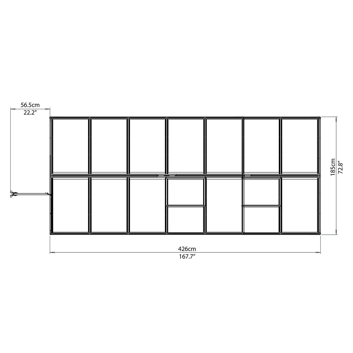 Gewächshaus Multi Line 6 x 14 mit Stahlfundament, 424 x 185 x 209 cm, Aluminium, silber | #10