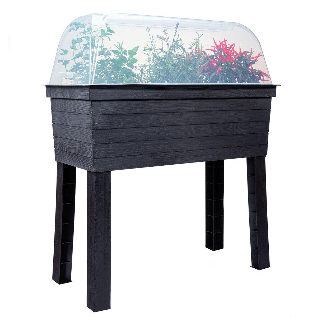 GARANTIA URBAN Balkon-Hochbeet inkl. Anzuchthaube, Kunststoff, schwarz/transparent, 75x37x87 cm | #11