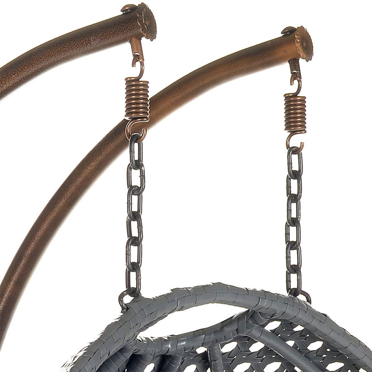 Polyrattan Hängesessel Twin grau mit Regenabdeckung   #12