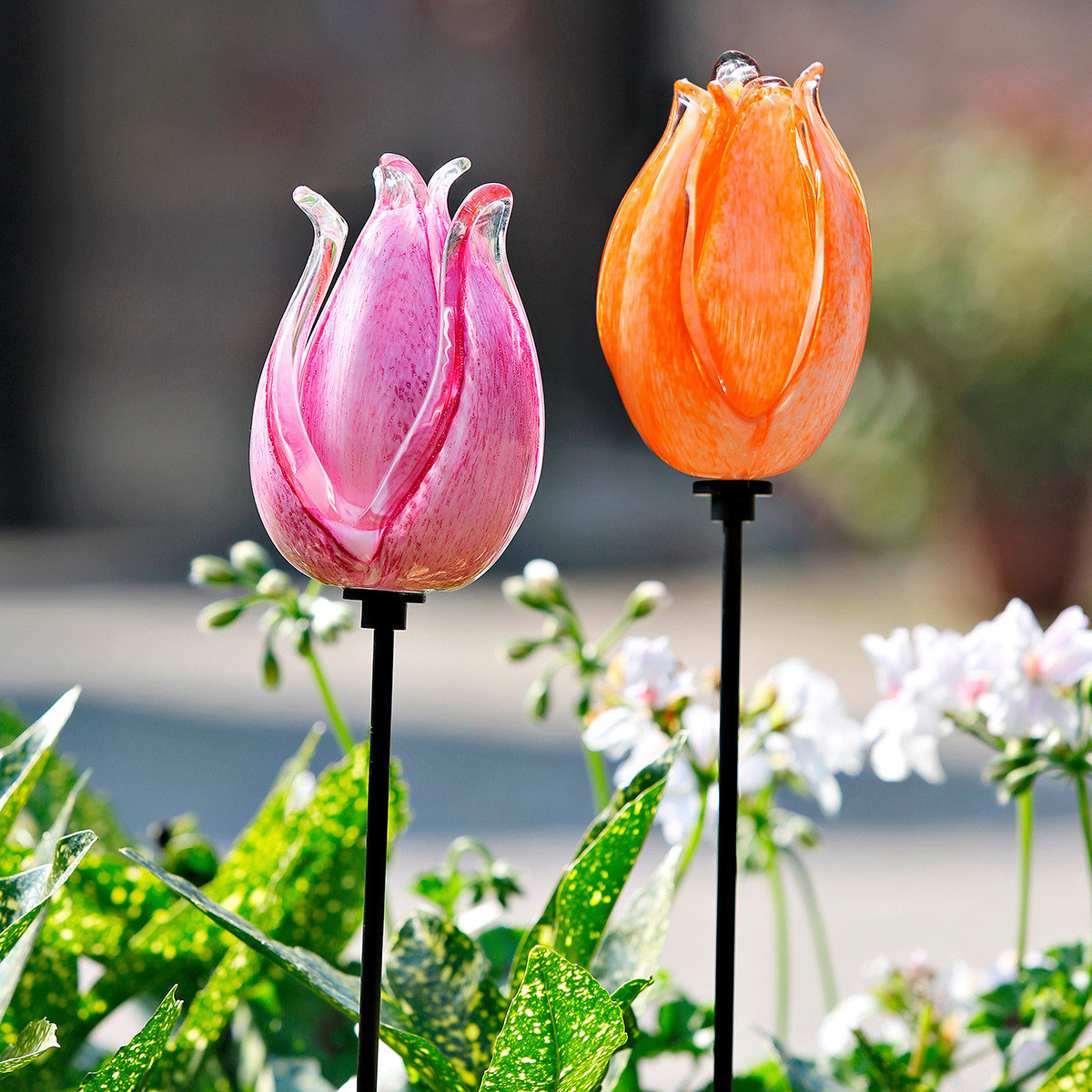 Deko stecker tulpen glasbl te orange inkl eisenstab for Gartendeko glas stecker