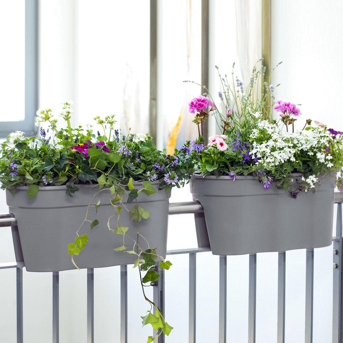 Geländertopf Flowerclip, 57,5 x 27,7 x 27 cm, grau | #2