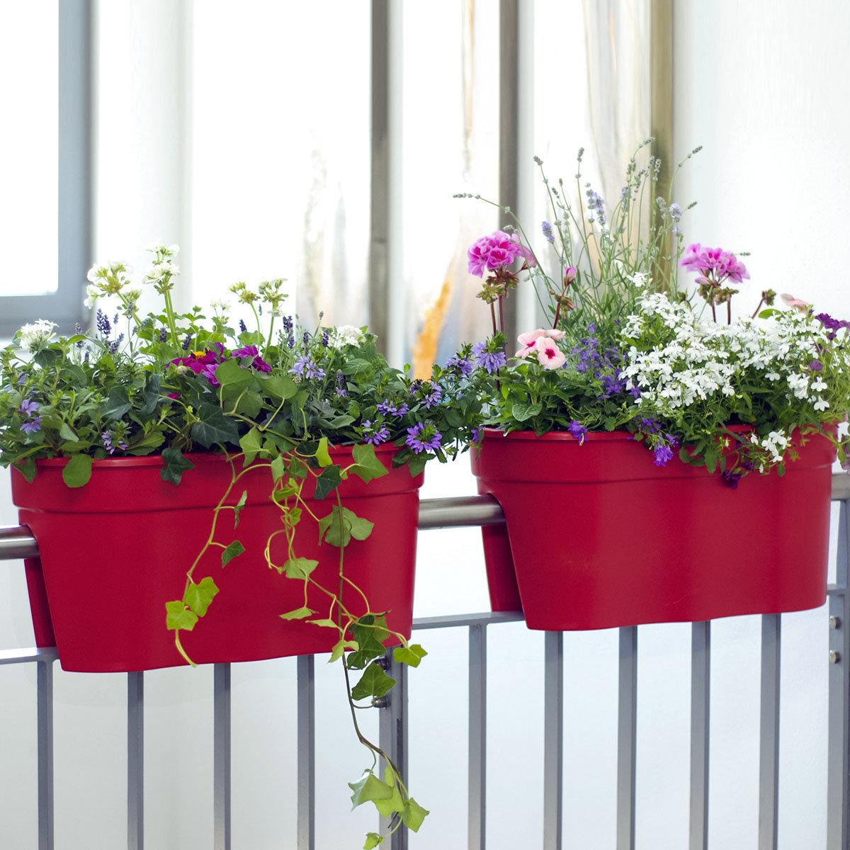 Geländertopf Flowerclip, 57,5 x 27,7 x 27 cm, rot | #2