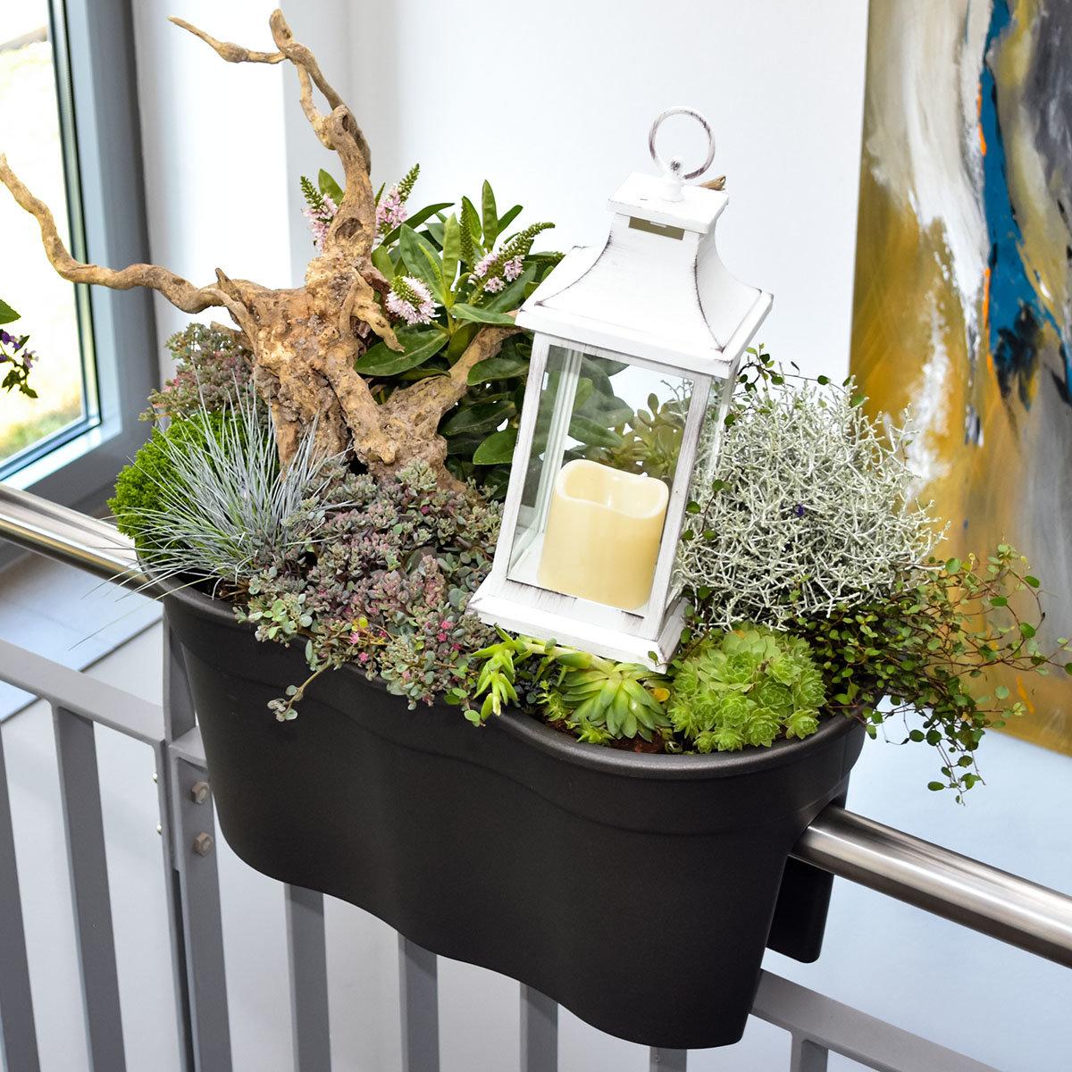 Geländertopf Flowerclip, 57,5 x 27,7 x 27 cm, anthrazit | #2