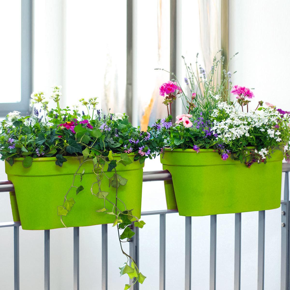 Geländertopf Flowerclip, 27 x 27,7 x 57,5 cm, grün | #2