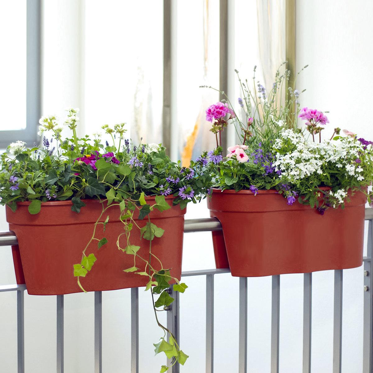 Geländertopf Flowerclip, 57,5 x 27,7 x 27 cm, terracotta | #2