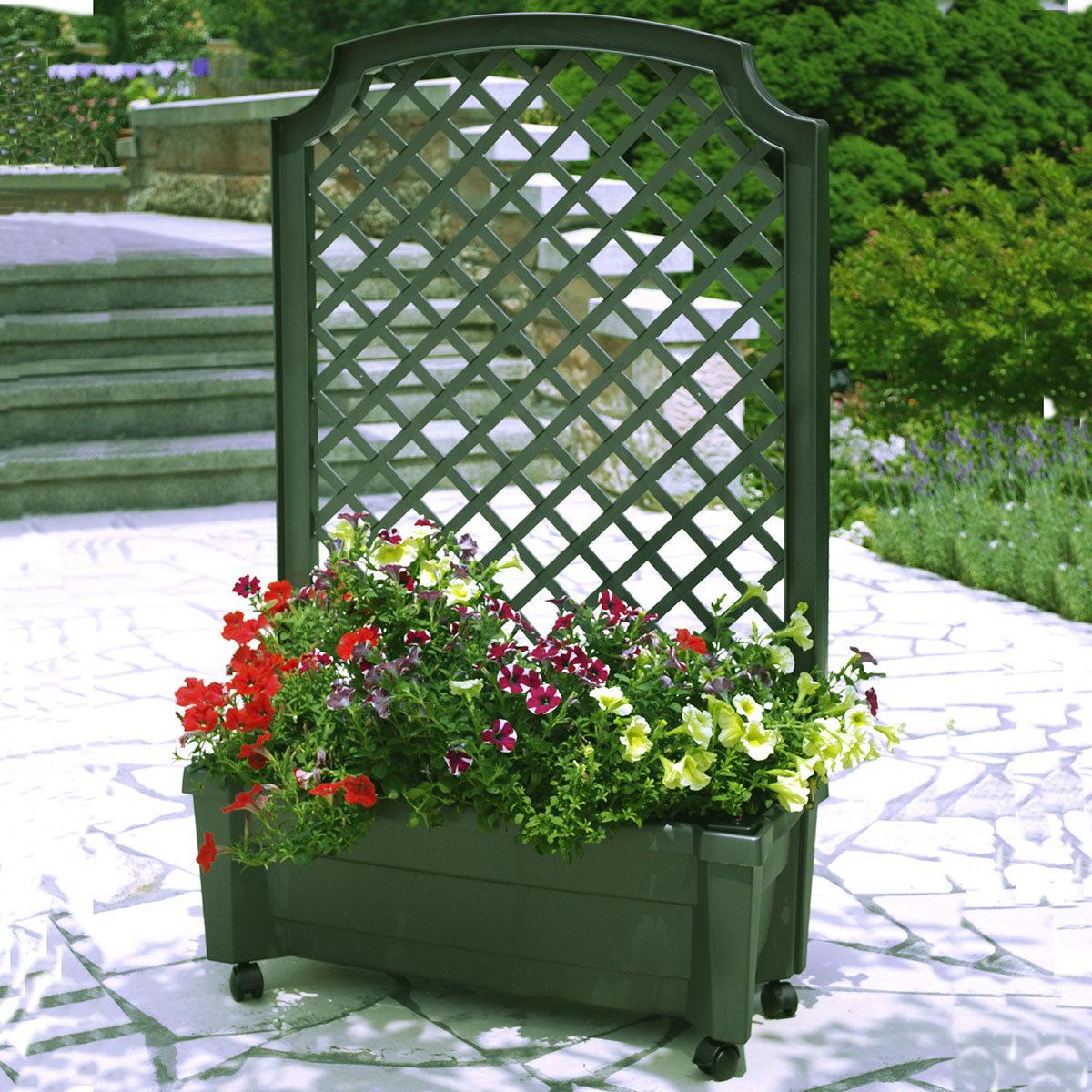 Pflanzkasten mit Bewässerungssystem und Spalier, grün | #2