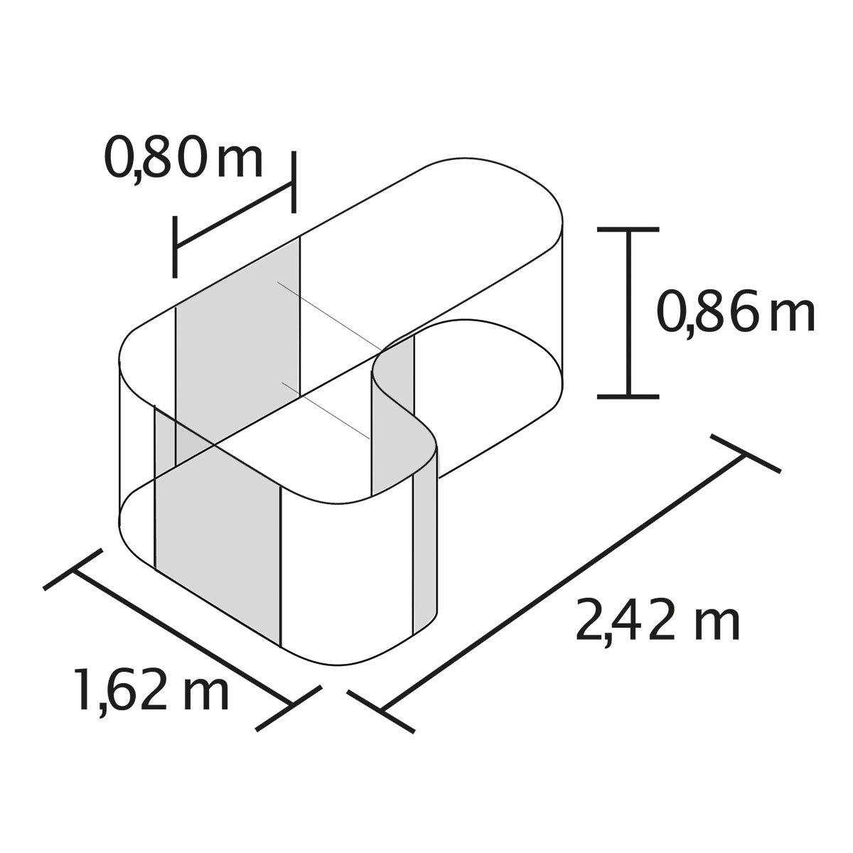 Vitavia Hochbeet Erweiterung Curve, aluminium | #2