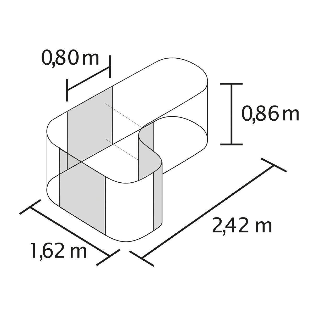 Vitavia Hochbeet Erweiterung Curve Aluminium Rot 80x80x86 Cm