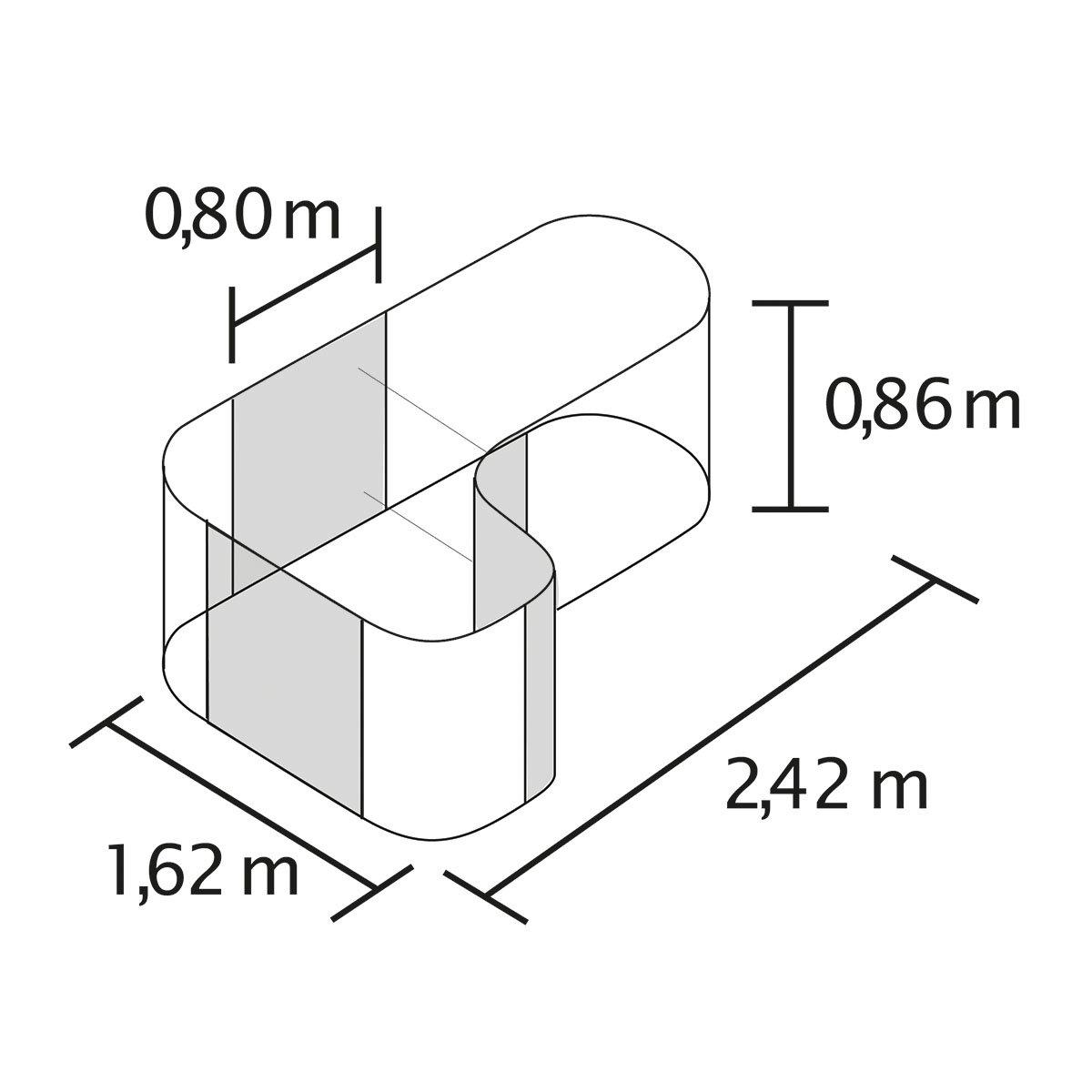 Vitavia Hochbeet Erweiterung Curve Aluminium Grau 80x80x86 Cm