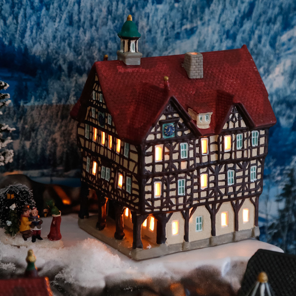 miniatur weihnachtsdorf lichthaus rathaus in bad urach von g rtner p tschke. Black Bedroom Furniture Sets. Home Design Ideas