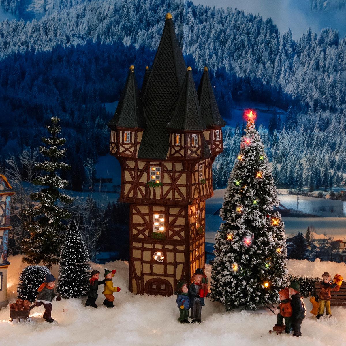 Miniatur-Weihnachtsdorf -Lichthaus Bromser-Turm in Rüdesheim | #2