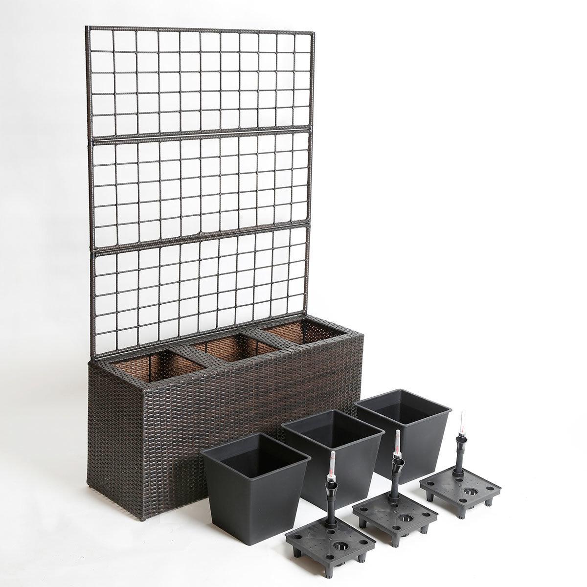 outdoor rattan blumenkasten mit rankgitter und bew sserungssystem rechteckig online kaufen bei. Black Bedroom Furniture Sets. Home Design Ideas