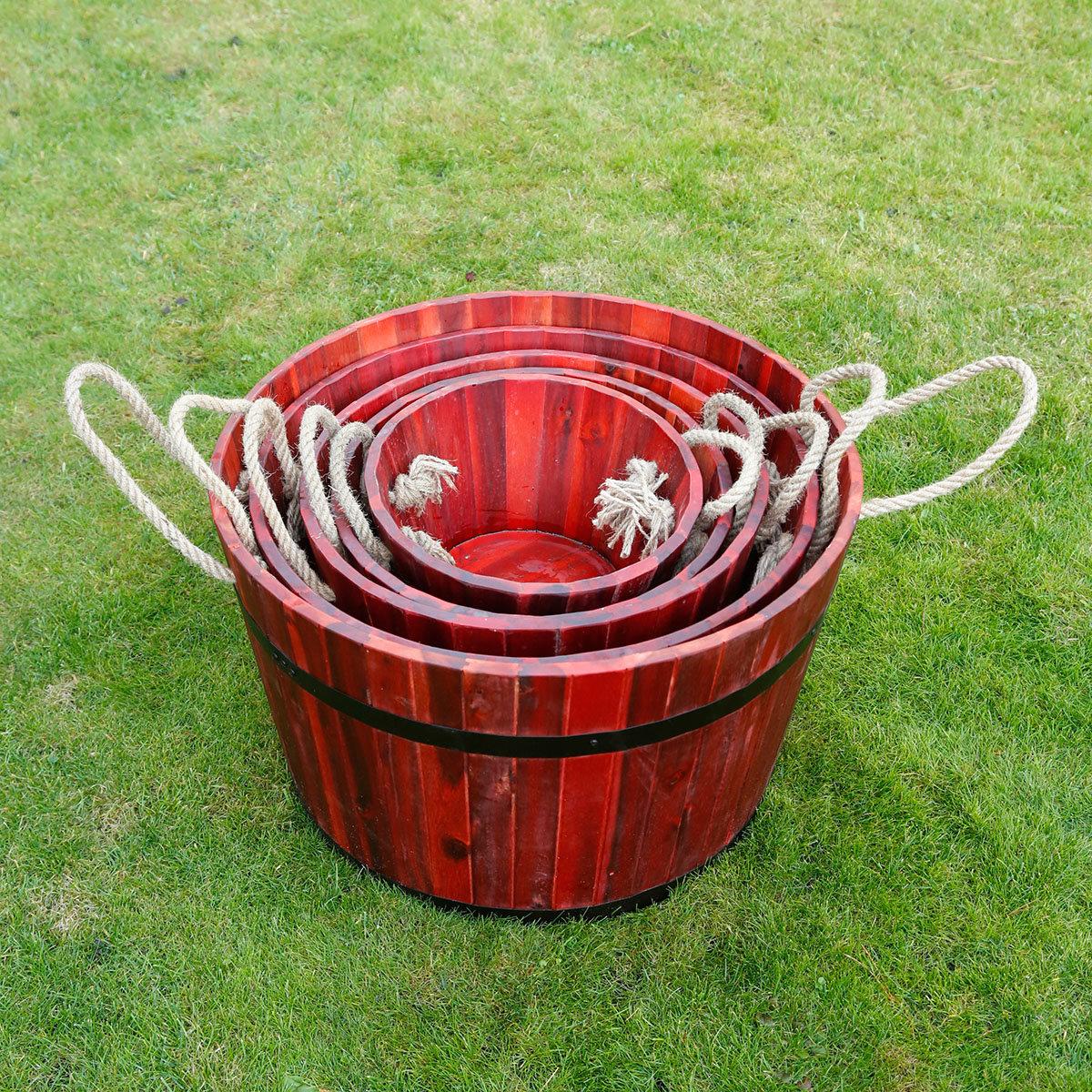 Pflanzkübel Barrique, 5er-Set, rot   #2
