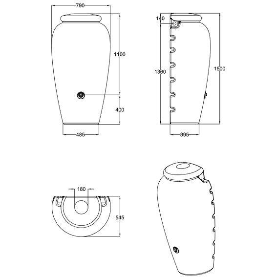 Regenwassertank Wand-Amphore 350 Liter, terracotta | #2