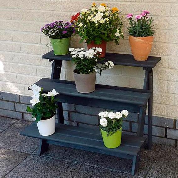 Blumentreppe Anja mit Eckelement, anthrazit | #2