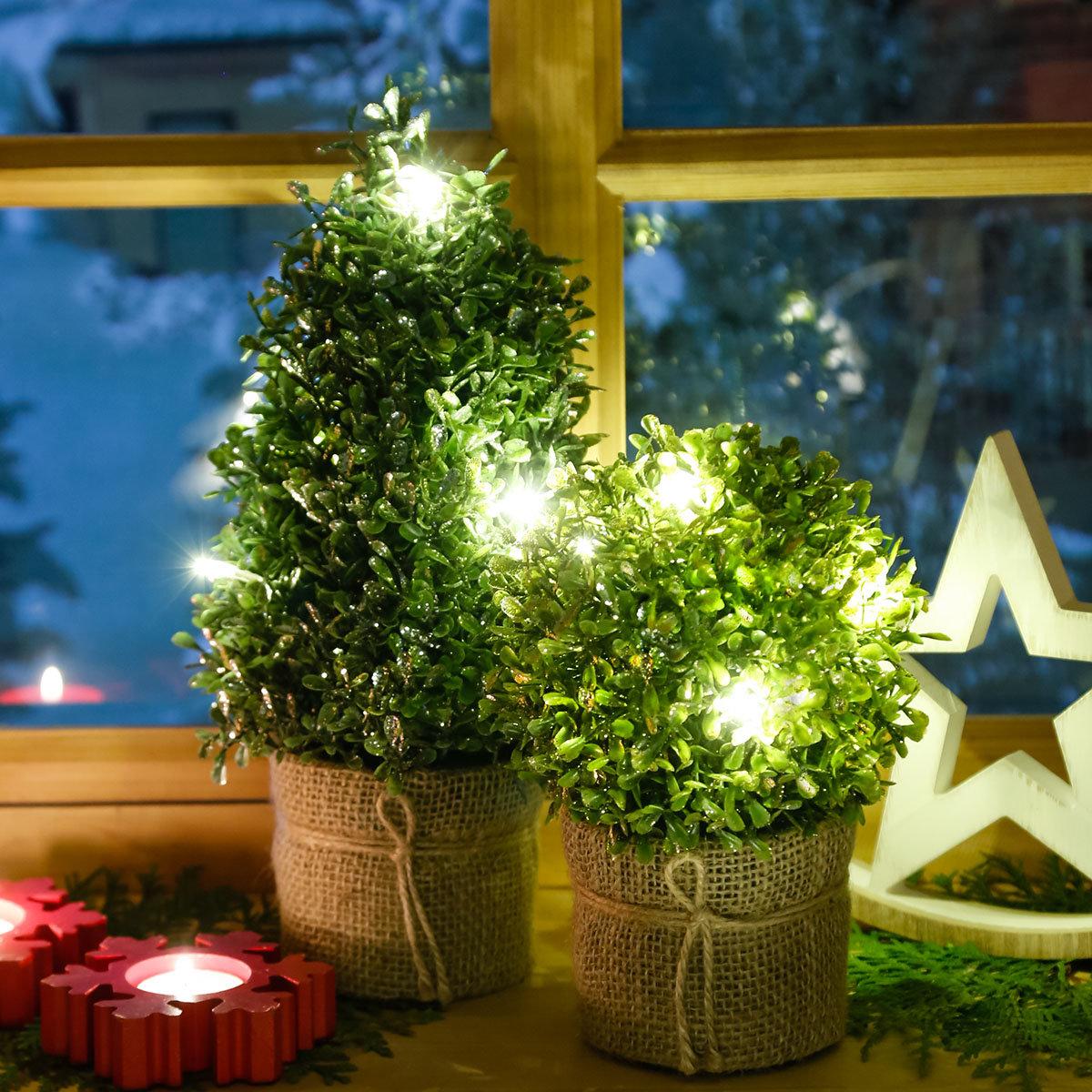 LED-Buchsbaum Winterzauber, gold | #2