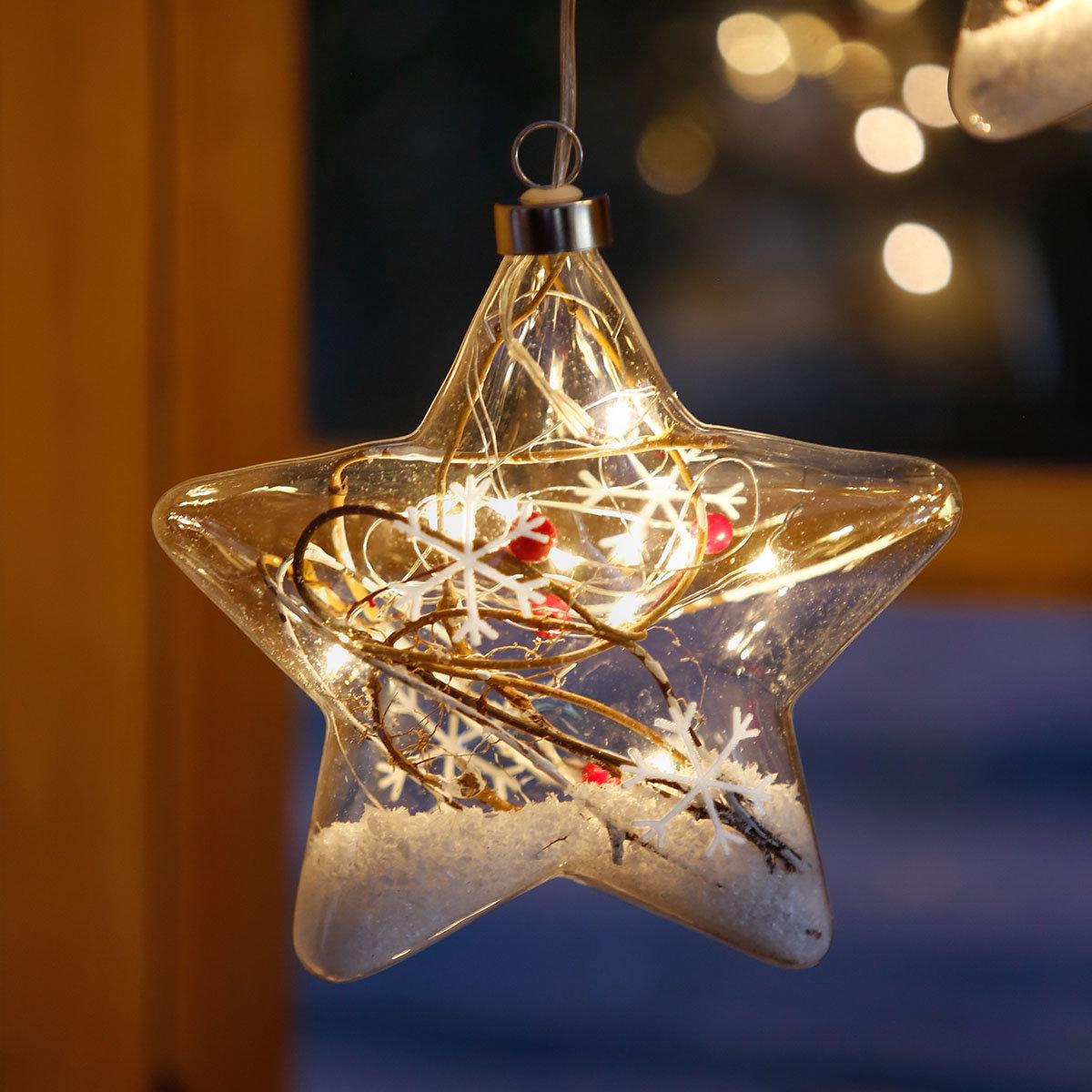 Led fensterdeko schneestern 3er set online kaufen bei - Weihnachts fensterdeko led ...