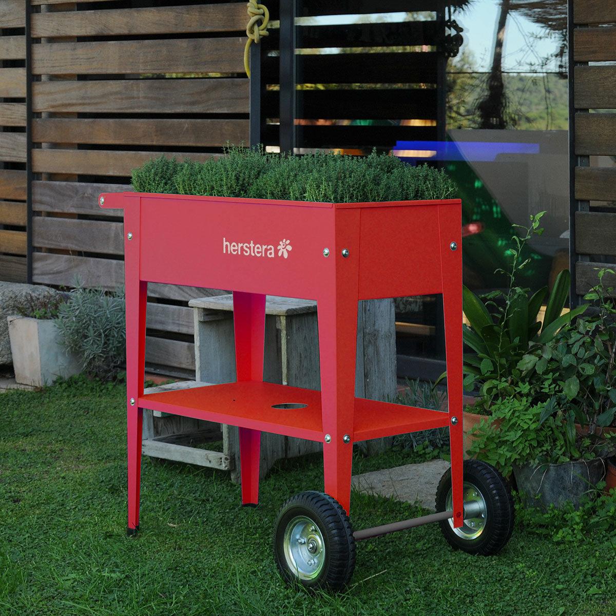 Hochbeet Urban Garden mit Rädern, rot, 75x35x80 cm   #2