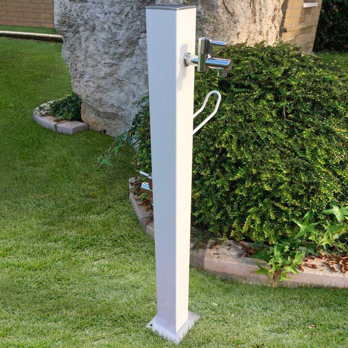 Wasserzapfsäule Quadra, 100x14x21 cm, Stahl, weiß | #2
