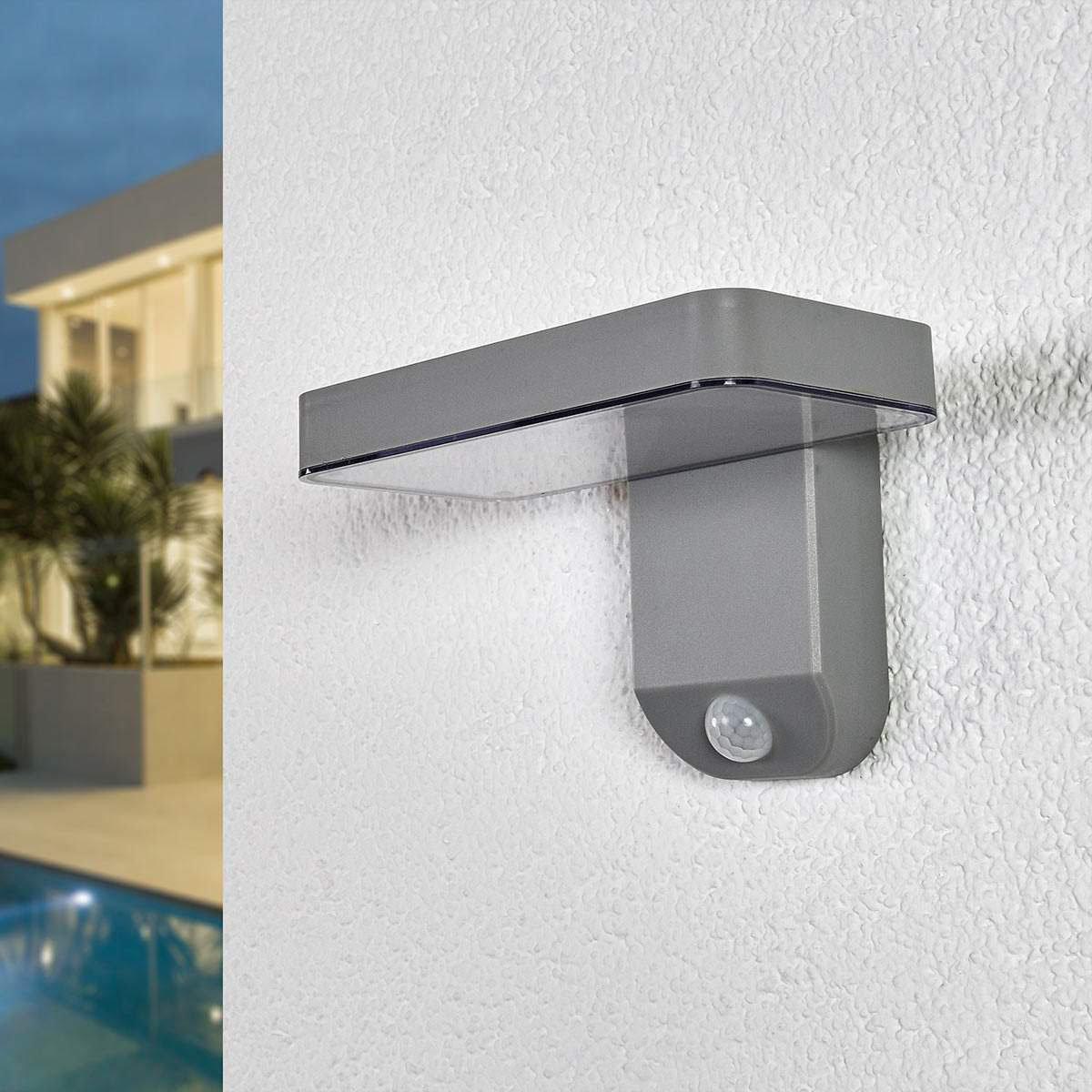 Solar-Außenwandlampe Maik mit Bewegungsmelder, 12x18x12,7 cm, Kunststoff, grau | #2