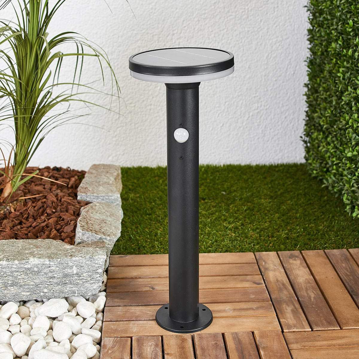 Solar-Sockellampe Eliano mit Bewegungsmelder, 45,5x16x16 cm, Edelstahl, schwarz   #2