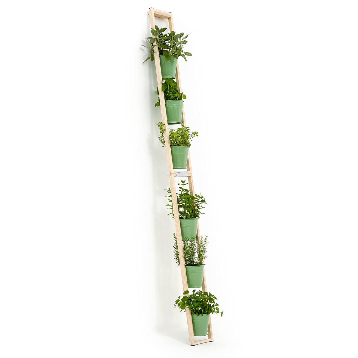 Pflanzleiter mit Topf 2-in-1 ,238x22x42 cm, Eschenholz, blassgrün | #2