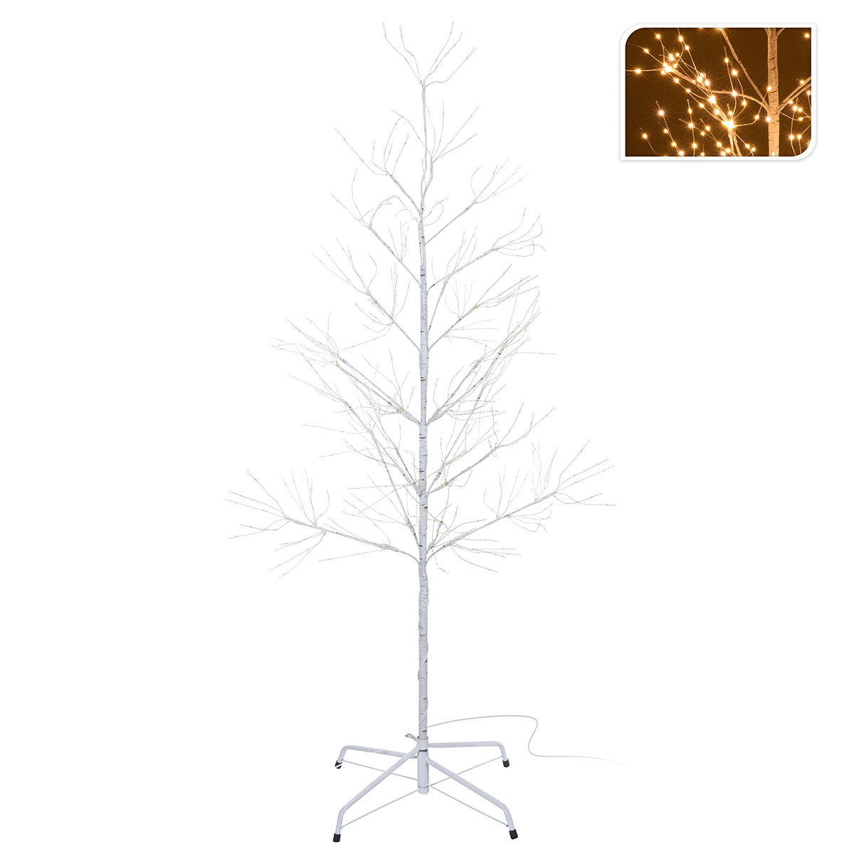 Micro-LED-Baum Snow Light, klein, 150 cm, Metall, weiß   #2