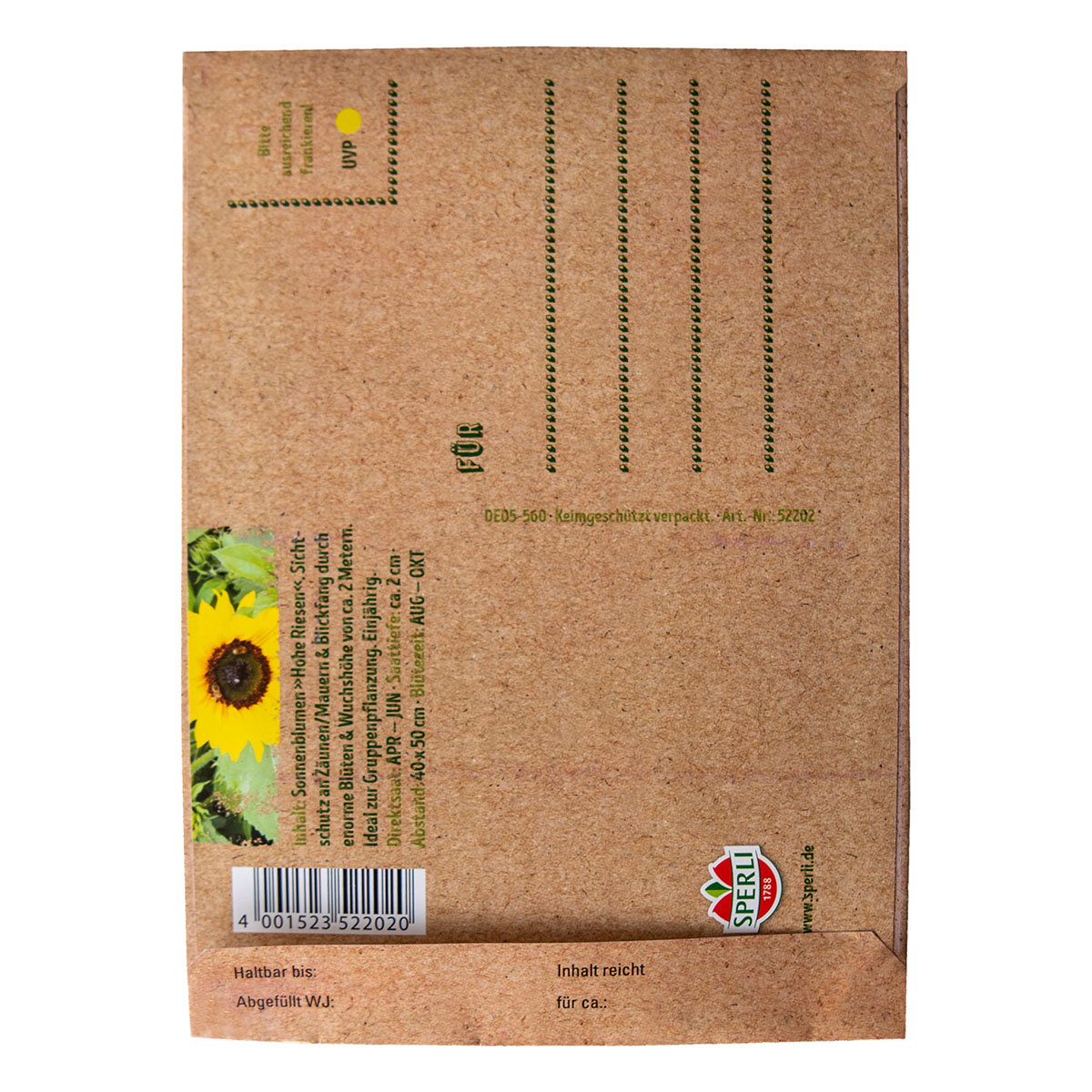 Saatgut Postkarte zum Verschicken - Sonnenblume | #2