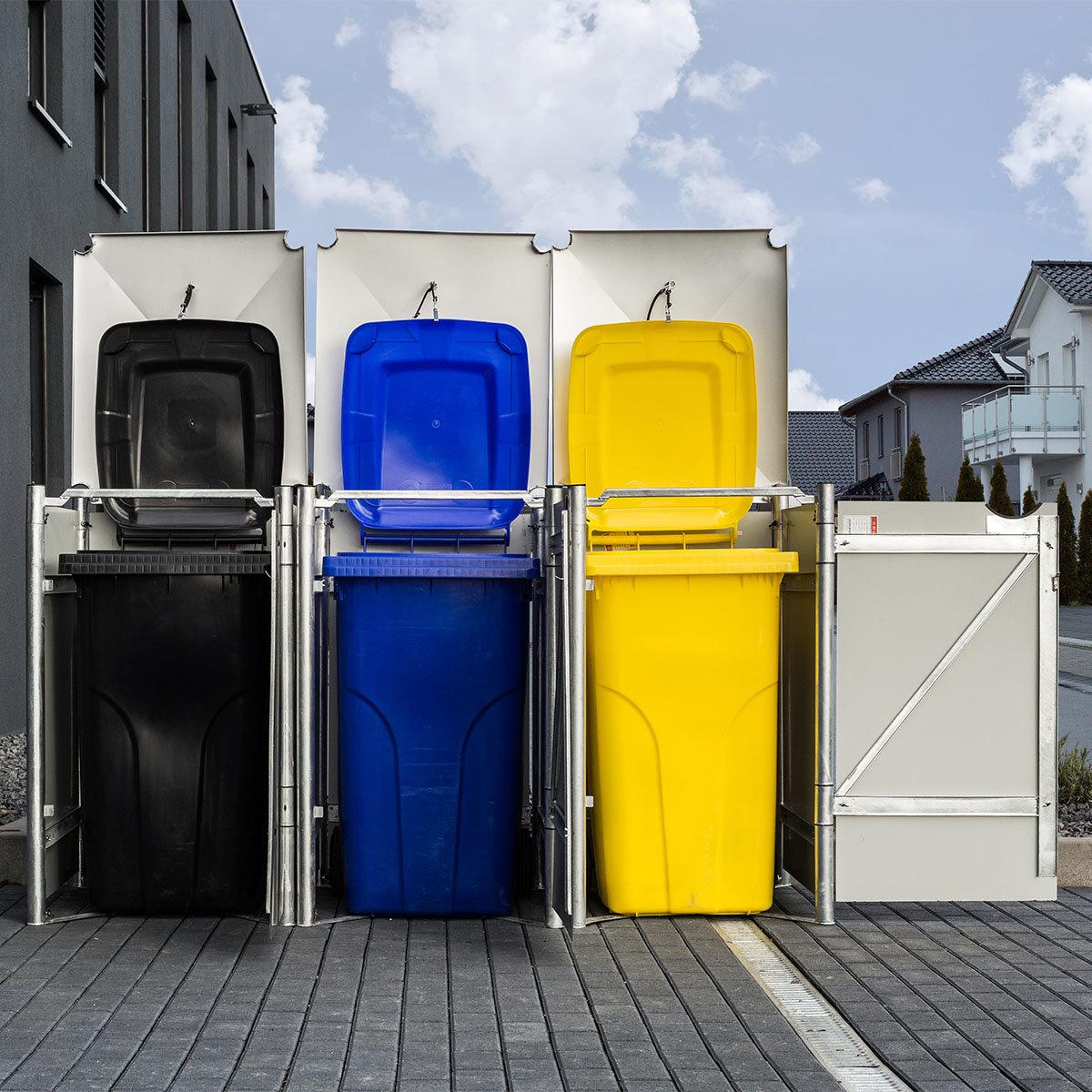 Mülltonnenbox 240l Kunststoff, 3er Box, grau | #2