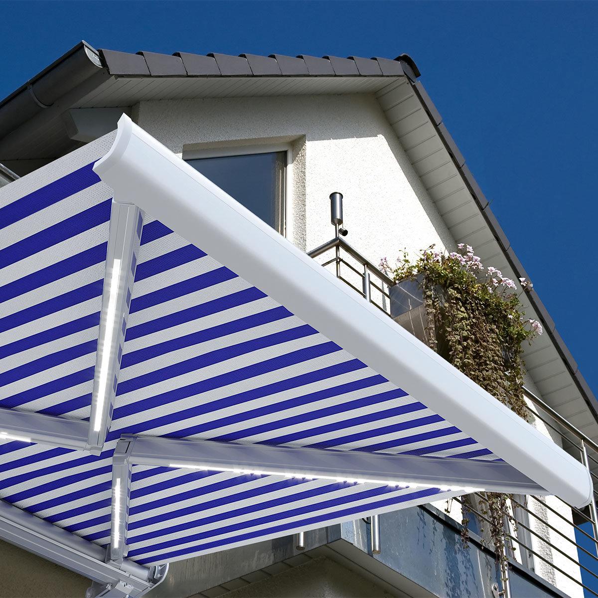 Vollelektrische Kassettenmarkise Elos V2 marineblau-weiß 500 x 300 cm mit Windsensor | #2