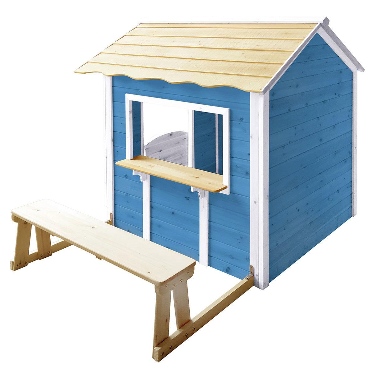Kinder Spielhaus großer Palast mit Bank, blau und weiß lasiert, ca. 138 x 118 x 132,5 cm | #2