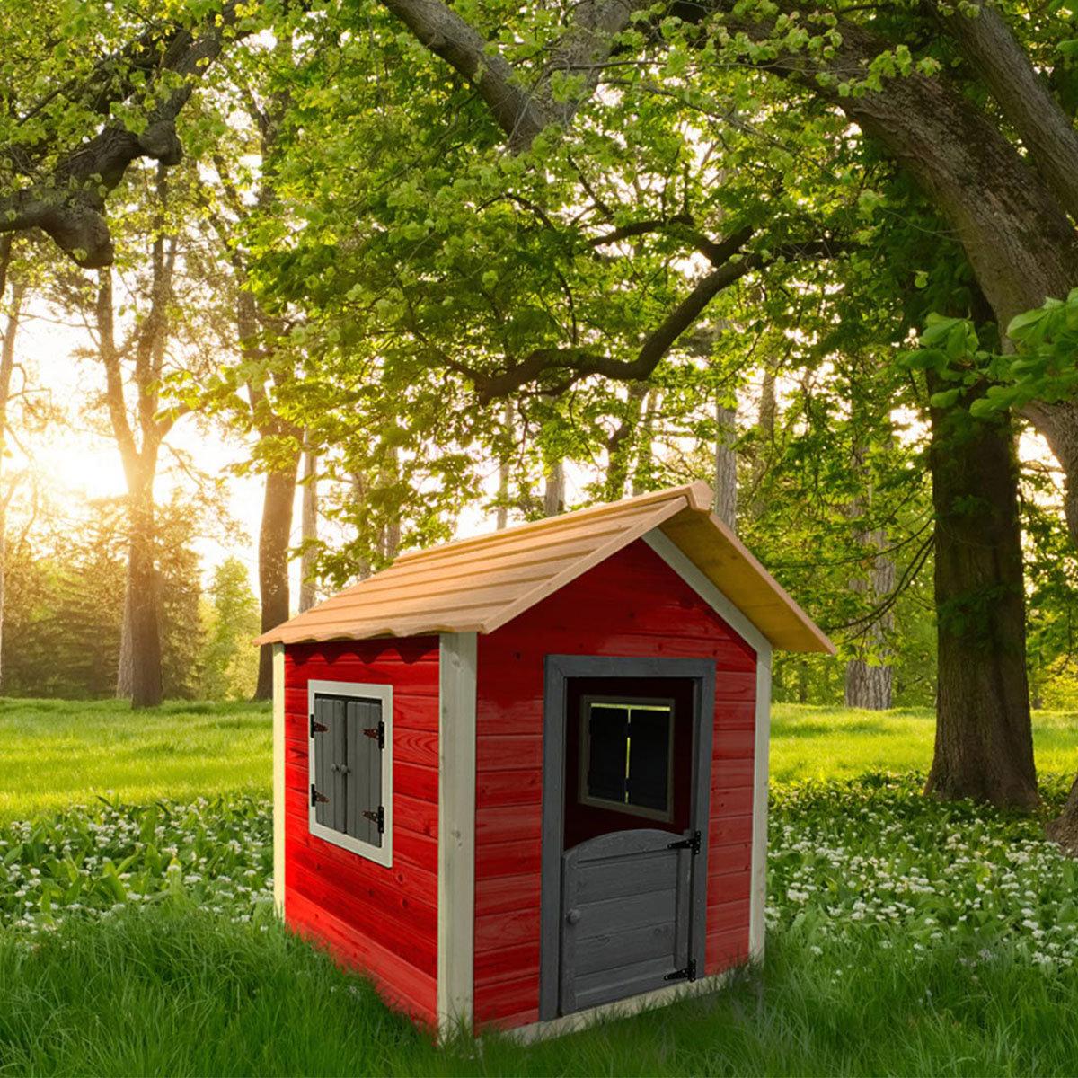 Kinder Spielhaus kleines Schloss, rot und weiß lasiert, ca. 138 x 118 x 132,5 cm | #2