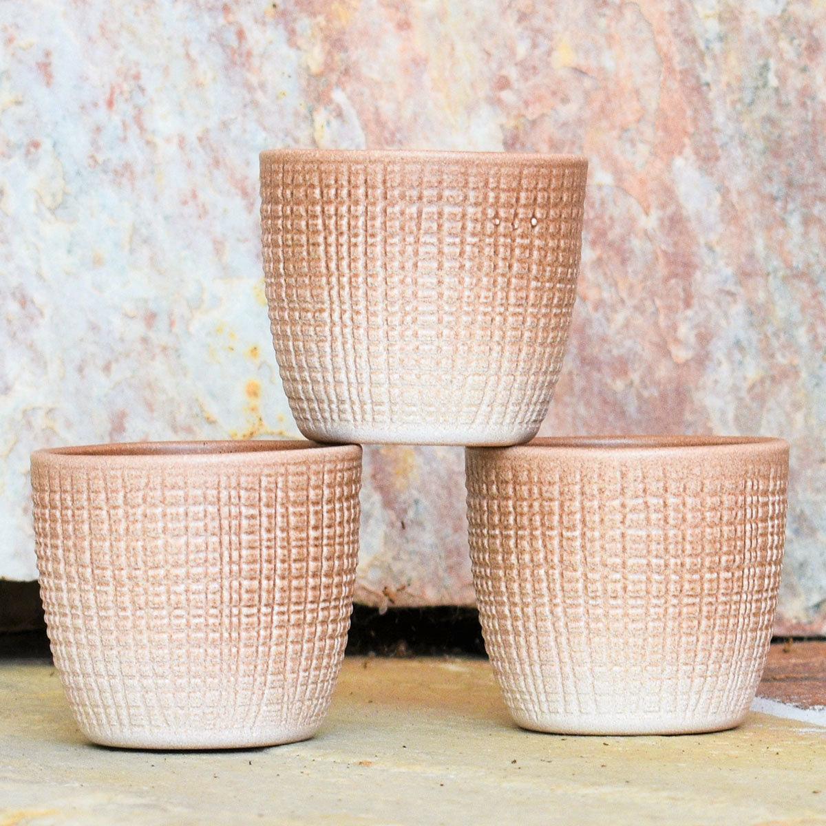 3er-Set Keramik-Übertöpfe 6cm, Braun | #2