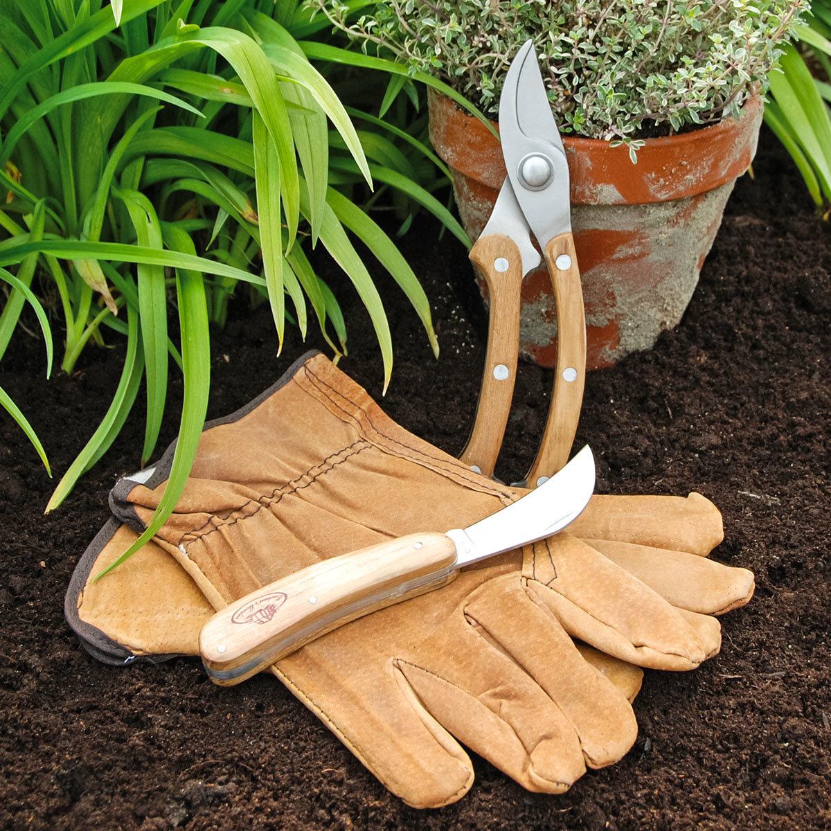 Gartenwerkzeug-Set, Schlossgärtner, Eschenholzgriff, Edelstahl, mit Lederhandschuhen | #2