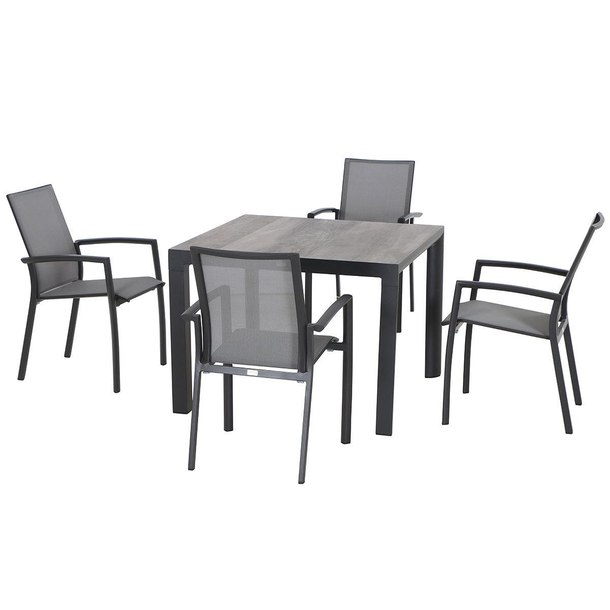 Gartenmöbel-Set Velia mit 4 Stapelstühlen und 1 quadratischer Tisch   #2