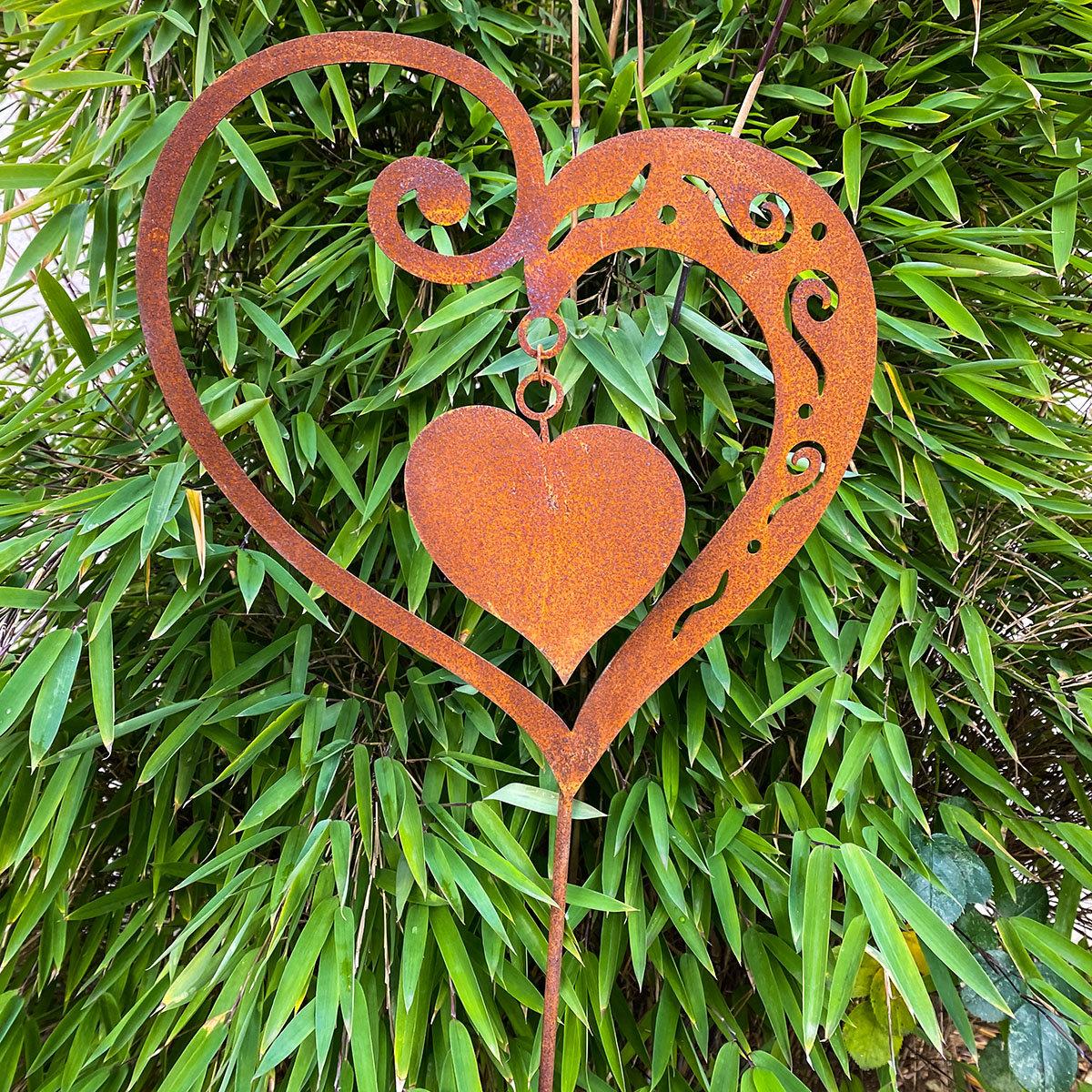 Gartenstecker Herz Sweetheart, Edelrost, ca. 65 cm | #2