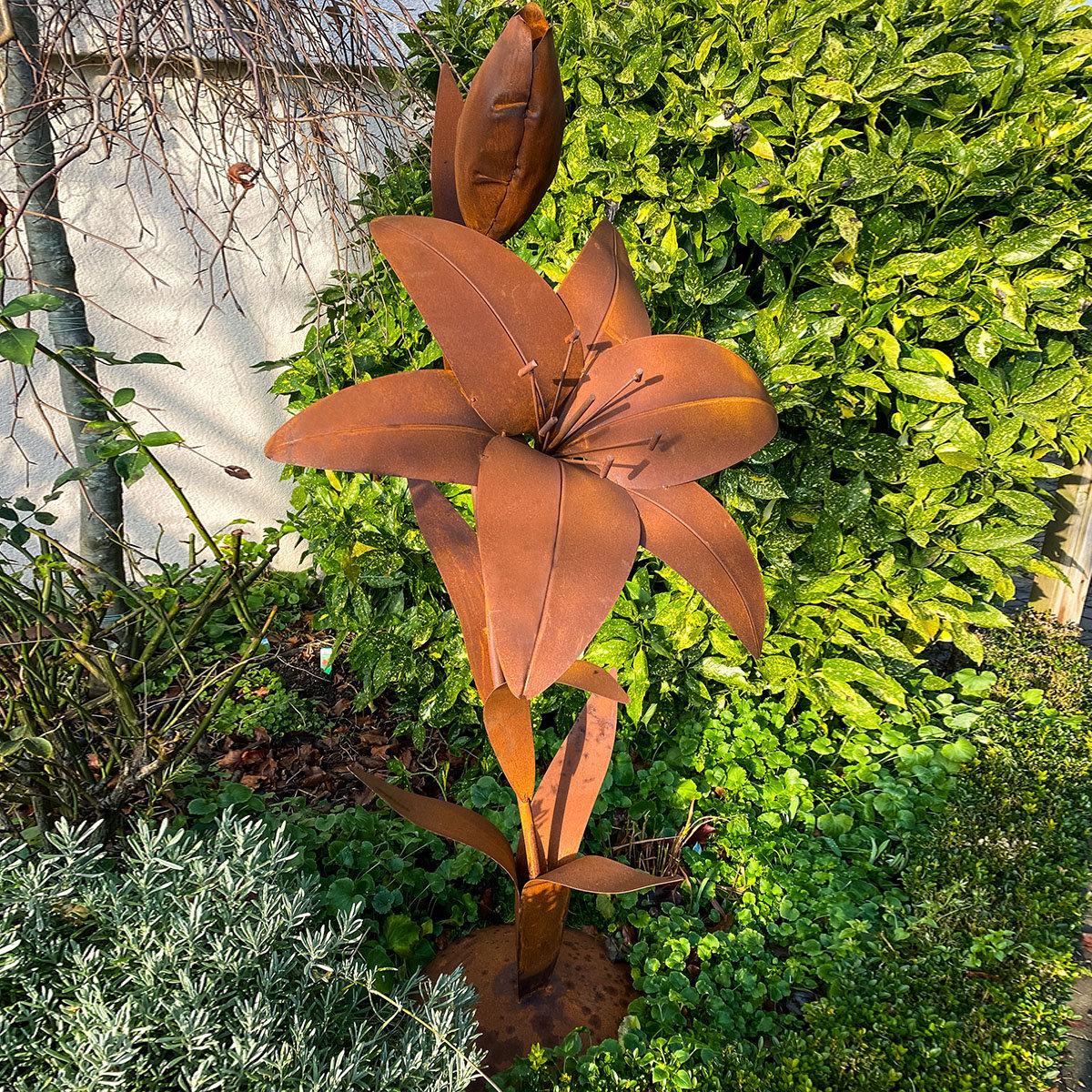 Gartenfigur Lilie mit Bodenplatte, Edelrost, 148 cm   #2