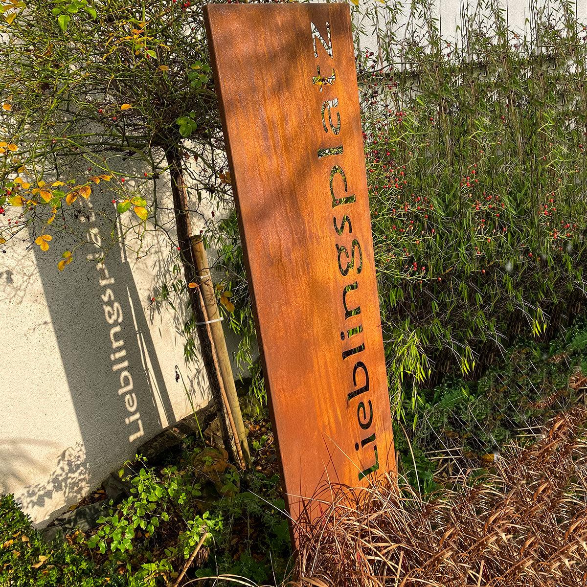 Gartenschild Lieblingsplatz, Edelrost | #2