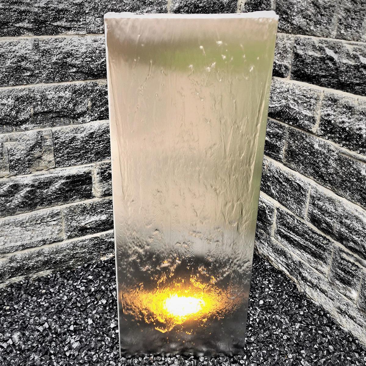 Wasserwand Husum groß, Edelstahl matt, mit Zubehör & Becken, 180x50x6 cm | #2
