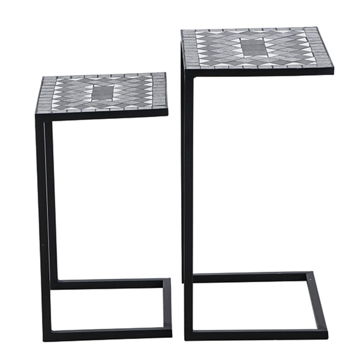 Bestelltisch Mosaik, Stahlgestell mit Keramikflächen, 2er-Set | #2