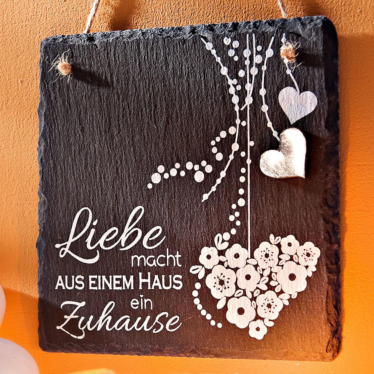 Naturschiefer Tafel Liebe, ca. 15 x 15 cm | #2