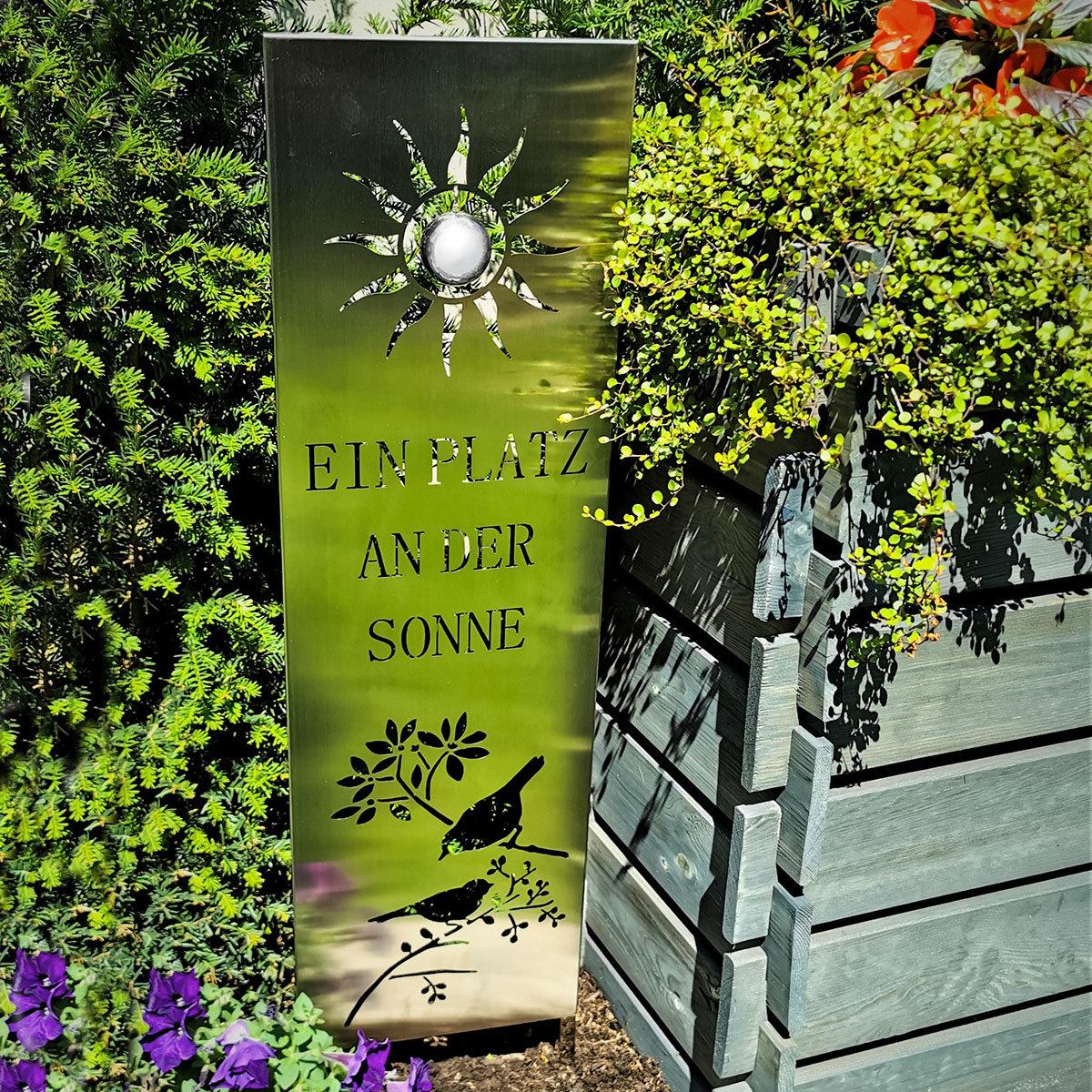 Edelstahl Gartenschild Ein Platz an der Sonne   #2