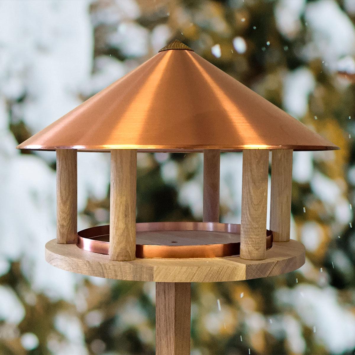 Vogelfutterhaus Robin, Eiche & Kupferdach   #2