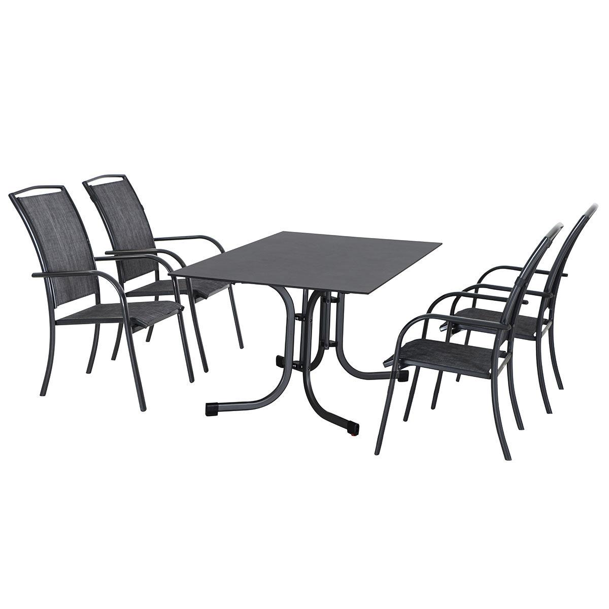 Gartenmöbel-Set Livorno mit 4 Stapelsesseln und Klapptisch, 160x90 cm | #2