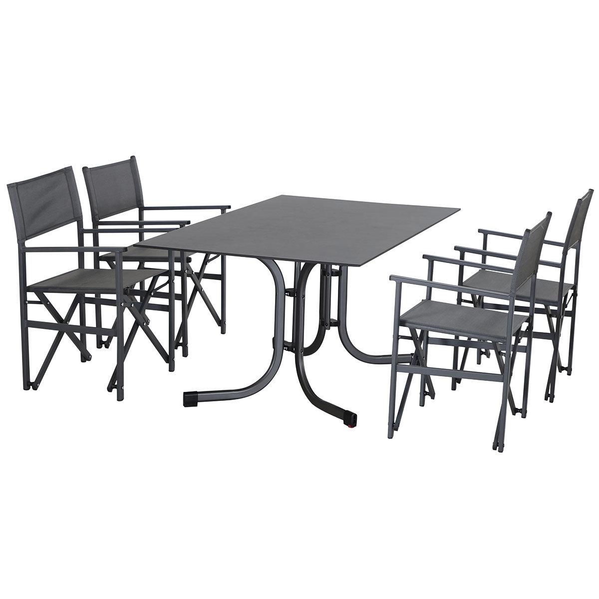 Gartenmöbel-Set Paulo mit 4 Klappsesseln und Klapptisch, 160x90 cm | #2