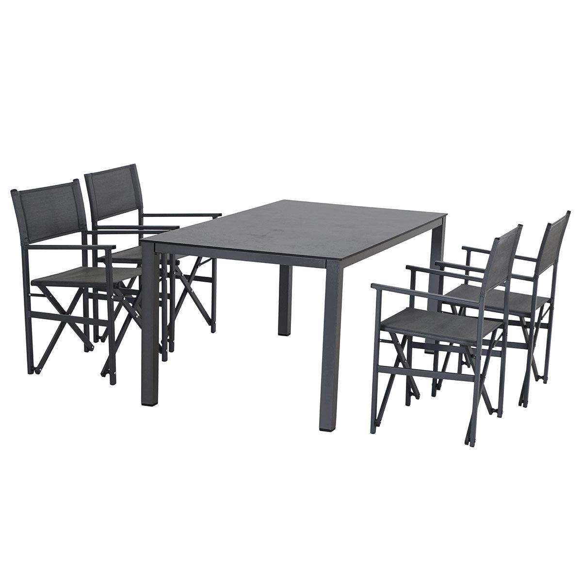 Gartenmöbel-Set Paulo mit 4 Klappsesseln und Dining-Tisch, 160x90 cm | #2